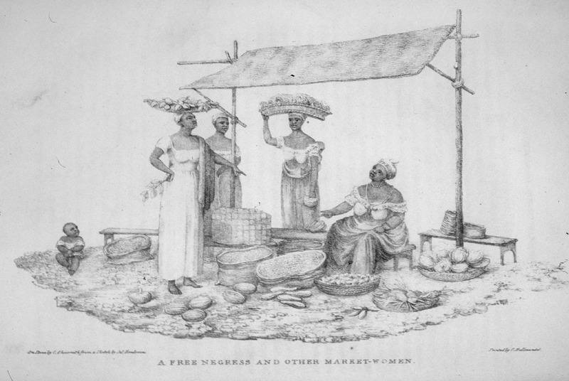 This image shows a group of women selling a variety of fruits and vegetables in containers and baskets at a market in Rio de Janeiro. An infant sits off to the left side. James Henderson (c. 1783-1848) was a British traveler who traveled all through Brazil between 1819 and 1820. He made all of his sketches from his observations.