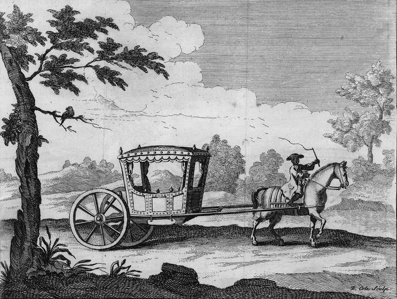 Captioned A calash much used at Lima & all over Peru, shows the calash or two wheel horse-drawn carriage; a fully liveried black coachman rides the horse.