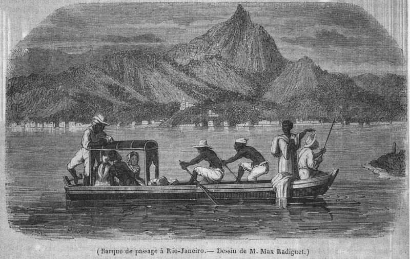 Captioned Barque de passage a Rio-Janeiro, shows small oar-propelled ferry operated by black crewmen; accompanies a lengthy eyewitness description of Rio and its inhabitants (pp. 183-184).