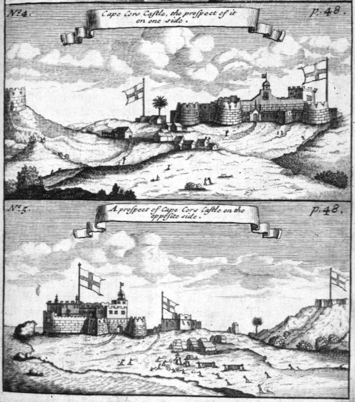 """Both views show African houses/village in the center. Bosman described how """"this is the English chief fort, which next to that of St. George d'Elmina is the largest and most beautiful on the whole coast; within it is well furnished with fine and well-built dwelling-places; before it they have also built a high turret to secure the lives of the people of the town, in case of an invasion of hostile Negroes"""" ( pp. 48-49). Bosman was an official of the Dutch West India Company and chief factor at Elmina. See also Christopher DeCorse, An Archaeology of Elmina: Africans and Europeans on the Gold Coast, 1400-1900 (Smithsonian Institution Press, 2001)."""
