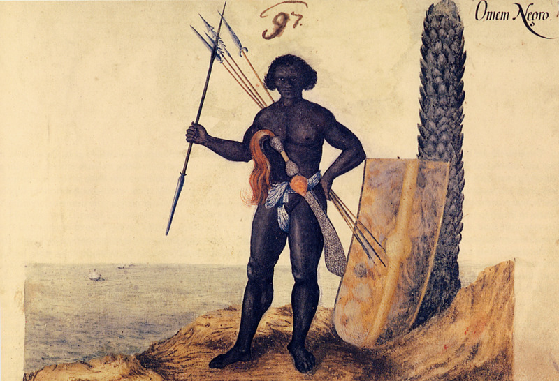 Titled, Omem Negro (a corruption, according to the translators, of the Portuguese homen negro [black man]). These blacks, Wagener writes, are brought to Brazil, from the neighboring and adjacent territories to Guinea, Angola, Cape Verde, the Congo river and others, taken from their home regions. They have great wars between themselves, using swords, shields, and long assagai . . . . Most are sold to the Portuguese . . . who immediately bring hundreds of them to Brazil to trade them for a high price with the wealthy sugar factory owners (vol. 2, p. 174). Wagener/Wagner was a German mercenary for the Dutch West India Company. In 1634, at the age of about 20, he went to northeastern Brazil where he stayed for 7 years. He probably copied this painting from one done in 1641 by Albert Eckhout/Eeckhout, a Dutch painter who lived in Brazil from 1637 to 1644 (R. P. Brienen, Visions of Savage Paradise [Amsterdam, 2006] p. 130). The Eckhout painting is published in Antonio Riserio, Uma Historia de Cidade da Bahia (Salvador, Bahia, 2000), p. 121; the original hangs in the National Museum of Denmark, Copenhagen. See also image NW0319 on this website. (Thanks to Ana-Lucia Araujo for her help.)