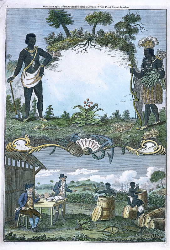 A colored engraving on paper, with two scenes; the artist is not identified. The top scene shows two native americans, in full dress, and tobacco plants. The bottom scene (right) depicts enslaved men packing tobacco into barrels or hogsheads while being watched by two white men (left), one smoking a pipe, the other apparently keeping a record of the number of filled containers.