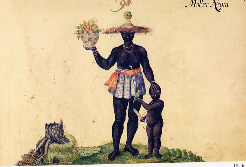 Titled, Molher Negra (a corruption, according to the translators, of the Portuguese mulher negra [black woman]). The woman, with a child at her side, is carrying a basket of fruit, wearing a short skirt, large hat, and bead necklace; a white clay pipe is tucked into her skirt. Wagener/Wagner was a German mercenary for the Dutch West India Company. In 1634, at the age of about 20, he went to northeastern Brazil where he stayed for 7 years. According to Wagener, Black women . . . are not spared having to work in an exhausting manner in the mills and cane-fields just as the men and children do. Some of them know Spanish and Dutch money well, so their owners send them into the streets to sell chickens, birds, dried fish and all form of magnificent fruit (vol. 2, p. 175). Wagener probably copied this painting from one done in 1641 by Albert Eckhout/Eeckhout, a Dutch painter who lived in Brazil from 1637 to 1644 (R. P. Brienen, Visions of Savage Paradise [Amsterdam, 2006] p. 130). The 1641 painting is in the National Museum of Denmark (Copenhagen), and is published in Antonio Riserio, Uma Historia de Cidade da Bahia (Salvador, Bahia, 2000), p. 116. See also image NW0318 on this website. (Thanks to Ana-Lucia Araujo for her help.)