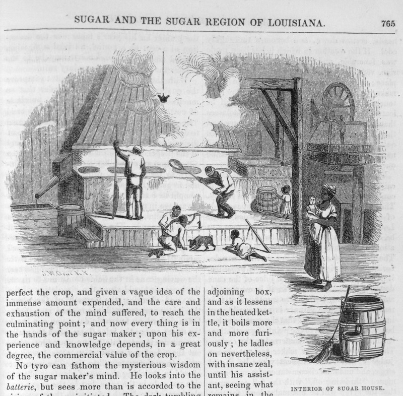 This engraving depicts a group of enslaved men boiling sugar in Louisiana, while a woman held an infant near several children playing. Harper's Magazine (also called Harper's) is a monthly magazine of literature, politics, culture, finance and the arts.