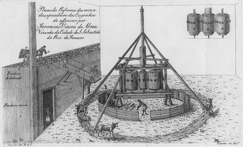 This engraving shows enslaved blacks operating a rather unusual (by Caribbean standards) mill with vertical rollers; items are numbered and described in the text. Title reads: Plano de Reforma das moendas, epicadeiro dos Engenhos de assucar por Jeronimo Vieira de Abreu, Vizinho da Cidade de S. Sebastiao do Rio de Janeiro (Diagram of the improvements [or repairs] to the cattle-driven mill of the sugar factory [done] by Jeronimo Vieira de Abreu, in the neighborhhod of the city of Sao Sebastiao de Rio de Janeiro).