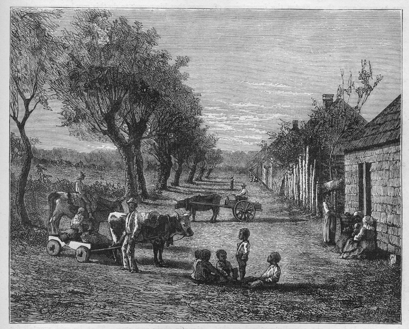 This image shows a row of slave houses with children playing in front and adults engaged in various activities, including driving oxcarts. The illustration accompanies a discussion of events preceding the Civil War and what transpired in Georgia, but the illustration, which apparently is based on an artist's imagination, is not discussed in the text.