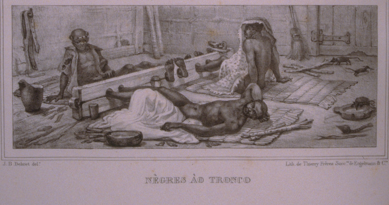 Caption, Negres au Tronco (blacks in stocks); three men with their feet in stocks, surrounded by their cooking utensils. The engravings in this book were taken from drawings made by Debret during his residence in Brazil from 1816 to 1831. For watercolors by Debret of scenes in Brazil, some of which were incorporated into his Voyage Pittoresque, see Jean Baptiste Debret, Viagem Pitoresca e Historica ao Brasil (Editora Itatiaia Limitada, Editora da Universidade de Sao Paulo, 1989; a reprint of the 1954 Paris edition, edited by R. De Castro Maya).