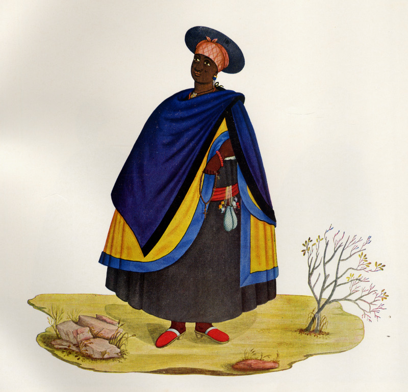 Simply captioned Clothing Outfit of a Black Woman, no information is given on the subject of this illustration; she is shown with jewelry and holding a rosary. Born in Italy ca. 1740, Juliao joined the Portuguese army and traveled widely in the Portuguese empire; by the 1760s or 1770s he was in Brazil, where he died in 1811 or 1814. For a detailed analysis and critique of Juliao's figures as representations of Brazilian slave life, as well as a biographical sketch of Juliao and suggested dates for his paintings, see Silvia Hunold Lara, Customs and Costumes: Carlos Juliao and the Image of Black Slaves in Late Eighteenth-Century Brazil (Slavery & Abolition, vol. 23 [2002], pp. 125-146).