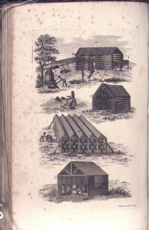 Illustrates various stages in the processing of tobacco, and is captioned, from top to bottom: a) the common tobacco house; b) tobacco hanging upon a scaffold; c) the operation of prizing; d) inside view of a tobacco house, shewing the tobacco hanging to cure; e) an outside view of public warehouses; f) an inside view of the public warehouse, shewing the process of inspection.