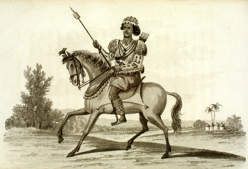 Caption, Yarradee, War-Master of the Soolimas; shows cavalryman with his weapons.  The author traveled in Sierra Leone in the early 1820s, and describes at length a mock-battle he witnessed involving Yarradee and a large group of his soldiers.