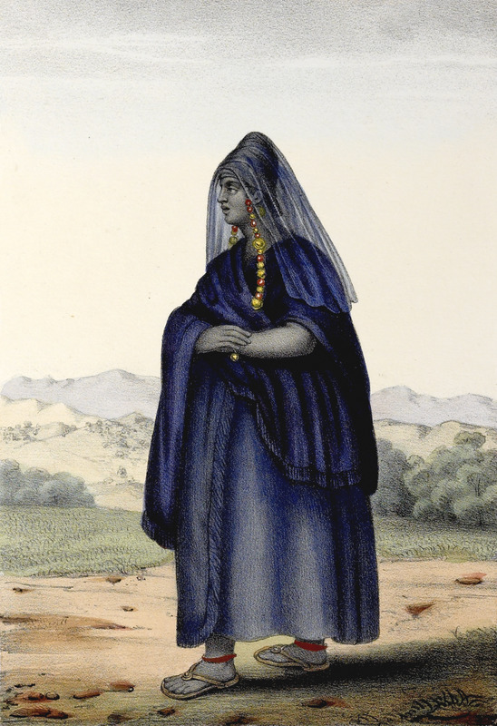 """""""Sarakole Woman"""" (caption translation). The Soninke (Sarakole, Seraculeh, Serahuli, among other variations) are from the Fuuta Jalon highlands in the Senegambia region. They speak Soninke, which is one of the Mande languages. Boilat described how this woman was """"clothed in an elaborate indigo-dyed blue gown with turban or head-tie and a gauze veil (which she made herself), the woman is shown with an intricate long necklace of coral and enormous amber beads that hangs down to her chest. This outfit is worn on solemn occasions and the same type of dress, the author notes, is also found among the neighboring Toucouleur"""" (p. 29). David Boilat (1814-1901) was one of the first Catholic priests in the Senegambia region. His father was French and his mother a Signare, which was a term from the eighteenth and nineteenth centuries used to describe a mixed-race, French-African woman. Boilat spoke Wolof and Serer; and made his drawings from life. The 24 plates based on these drawings are explained in an accompanying text. Boilat left Senegal around the age of 13, was educated in France and he returned to Senegal in 1842 where he lived for ten years working as a teacher. He returned to France where he completed his Esquisses sénégalaises in 1853. He also published a Wolof dictionary in 1858."""