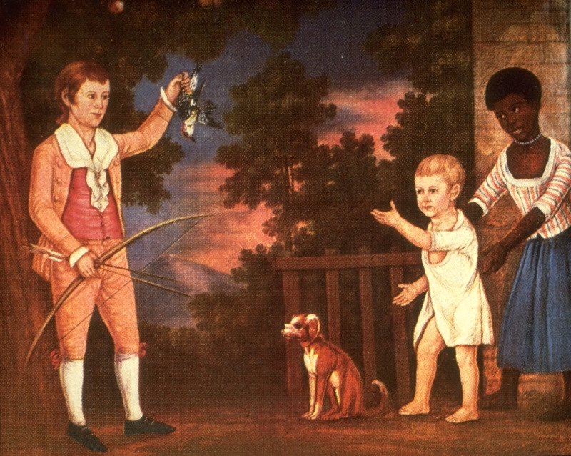 Unidentified black nurse with grandchildren of Virginia's Governor Spotswood, 1790-1800.