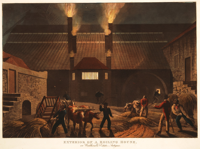 This image depicts a white overseer watching enslaved people hauling sugar cane trash to a fuel furnace in sugar bags on ox carts. Little is known of William Clark although he was probably a manager or overseer of plantations in Antigua. The ten prints in the collection were based on his drawings, converted into prints by professional printmakers. All of the prints are shown and extensively described in T. Barringer, G. Forrester, and B. Martinez-Ruiz, Art and Emancipation in Jamaica: Isaac Mendes Belisario and his Worlds (New Haven: Yale Center for British Art in association with Yale University Press, 2007), pp. 318-321.
