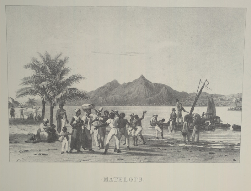 Caption, Matelots. A riverside scene showing canoes (with sails) and boatmen apparently soliciting customers on shore; some potential customers are women carrying goods and children. For an analysis of Rugendas' drawings, as these were informed by his anti-slavery views, see Robert W. Slenes, African Abrahams, Lucretias and Men of Sorrows: Allegory and Allusion in the Brazilian Anti-slavery Lithographs (1827-1835) of Johann Moritz Rugendas (Slavery & Abolition, vol. 23 [2002], pp. 147-168).