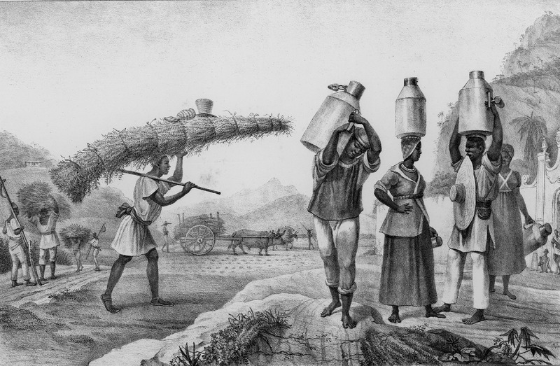 Captioned, Vendeurs de Lait et de Capim, shows (right) male and female milk sellers with large metal (?) jugs on their heads, and a man (left) carrying a load of capim (guinea grass) to be sold; ox carts hauling capim are in the background. The engravings in this book were taken from drawings made by Debret during his residence in Brazil from 1816 to 1831. For watercolors by Debret of scenes in Brazil, some of which were incorporated into his Voyage Pittoresque, see Jean Baptiste Debret, Viagem Pitoresca e Historica ao Brasil (Editora Itatiaia Limitada, Editora da Universidade de Sao Paulo, 1989; a reprint of the 1954 Paris edition, edited by R. De Castro Maya).