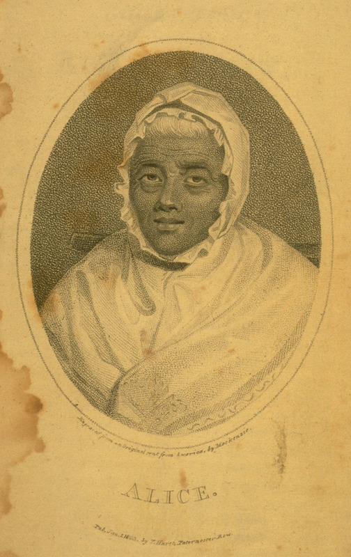Engraved portrait. Alice's parents had come from Barbados, but she was born in Philadelphia around 1686 and died, still enslaved, in Bristol, Pennsylvania 1802. Pp. 9-11 give a brief account of her life, including her recollections of the first AME church in Philadelphia.