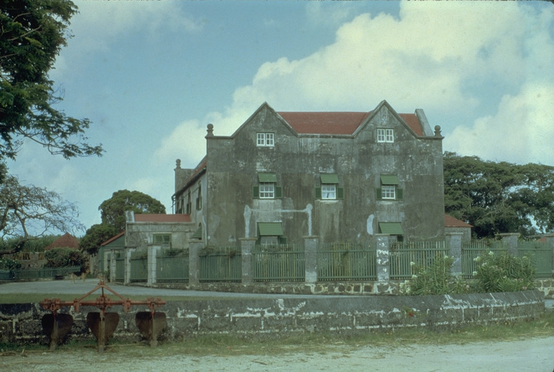 Drax Hall plantation house; front entrance is on the left. Drax Hall house was built of locally obtained coral blocks in the 1650s and is one of the oldest standing plantation houses in Barbados. It is one of three Jacobean-style English manor houses in what was once British America (the others are Nicholas Abbey in Barbados and Bacon's Castle, Williamsburg, Virginia).