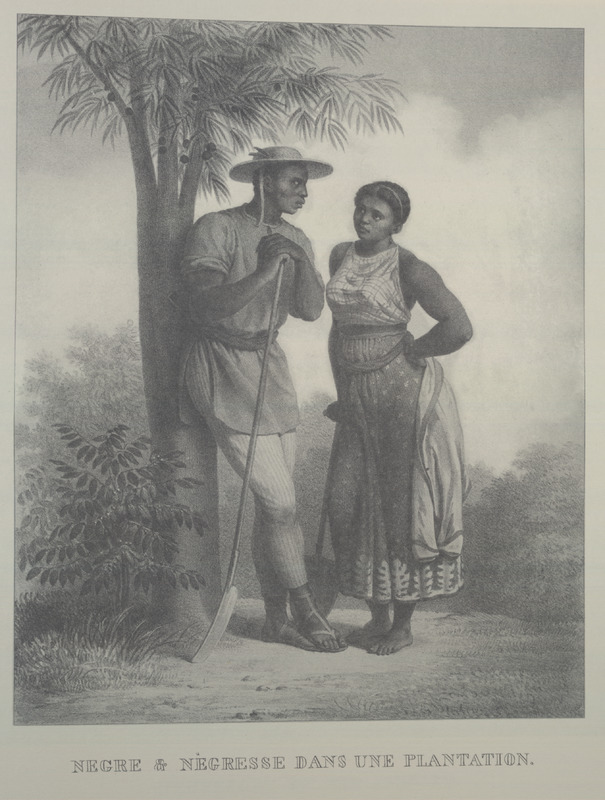 Showing the clothing of a man and woman, both holding agricultural tools. For an analysis of Rugendas' drawings, as these were informed by his anti-slavery views, see Robert W. Slenes, African Abrahams, Lucretias and Men of Sorrows: Allegory and Allusion in the Brazilian Anti-slavery Lithographs (1827-1835) of Johann Moritz Rugendas (Slavery & Abolition, vol. 23 [2002], pp. 147-168).