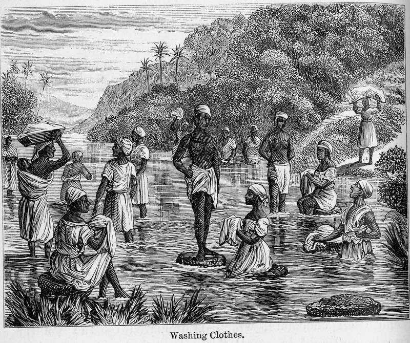 This scene depicts fifteen women of various ages, in various positions in the river, washing clothes in Santo Domingo. Samuel Hazard (1834-1876) was an American publisher and bookseller from Pennsylvania, who collected engravings and prints. After joining the union army, he rose through the ranks as brevet major until he resigned on surgeon's certificate of disability in 1865. After, he traveled to Cuba and Santo Domingo as a correspondent of the Philadelphia Press during protracted conflict related to the decolonization of the Spanish Caribbean.