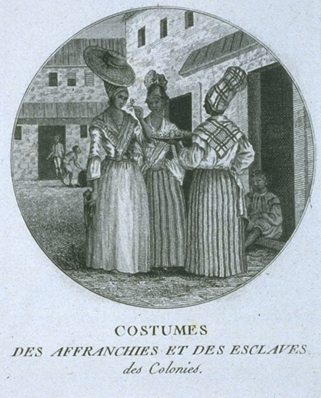 Captioned, Costumes des Affranchis et Des Esclaves des Colonies (clothing worn by free people of color and slaves in the colonies), this image shows three free women of color in an urban setting. Engraving by Ponce for Moreau de Saint Mery, Loix et Constitution des Colonies Francais (Paris, 1784, 1790). This image is reversed from the original Brunias print (not shown on this website, but a copy is owned by the Barbados Museum), one edition of which was published in London in 1790. The engraving, in turn, is derived from the Brunias painting, A West Indian Flower Girl, ca. 1769; for a b/w photo of this painting, see Malcolm Cormack, A Concise Catalogue of Paintings in the Yale Center for British Art (New Haven, 1985, pp. 44-45). For biographical details on Brunias, see image NW0016.