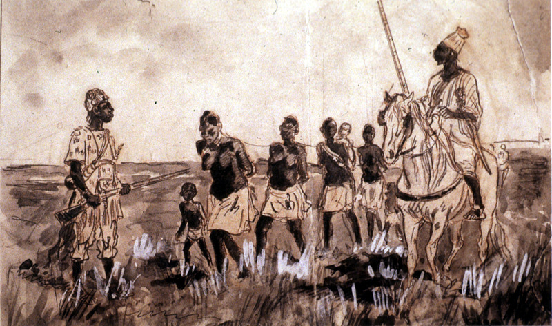 """""""Convoy of Female Captives"""" (caption translation). This image shows women and children with two African guards armed with rifles, one is mounted on a horse. Date unknown; location is probably the Western Savanna."""