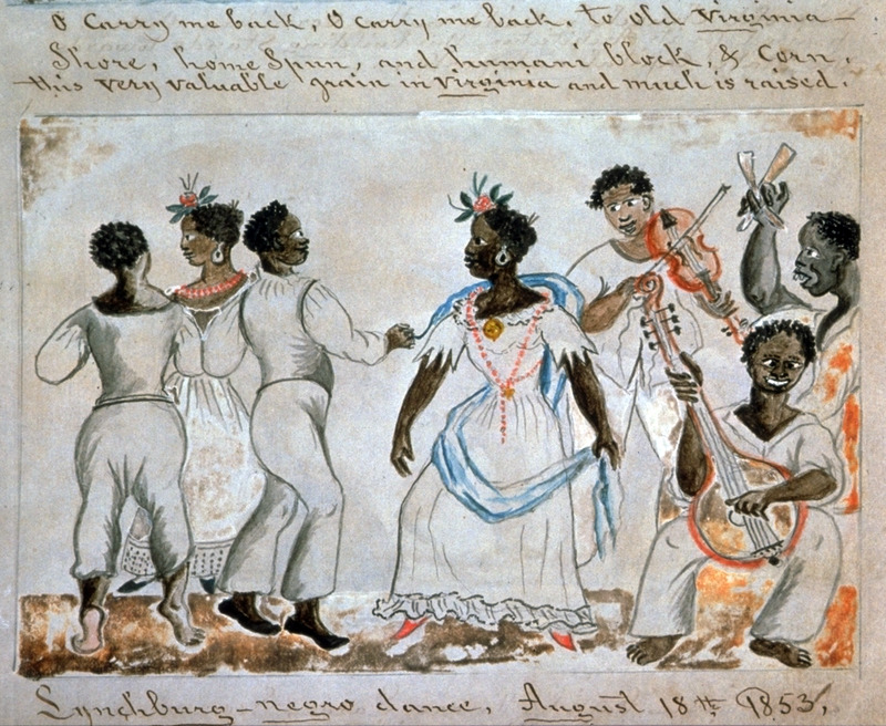 Captioned, Lynchburg-negro dance, this water color shows two couples dancing to the music of three musicians; they are playing the fiddle, banjo, and bones (usually cow ribs). The women wear long dresses and jewelry.