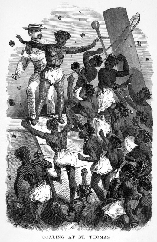 On a voyage from New York to Brazil in late 1864, the author's ship stopped at St. Thomas. Steamers there took on coal, and although slavery had been abolished in the Danish West Indies in 1848, the scene he describes could have taken place in the later years of the slave period. The work upon coal at St. Thomas is done exclusively by women . . . When we were ready for our coal . . . these women threw into the hold on the first day over three hundred tons. Each of them brought upon her head a basket of the average weight of eighty pounds. They came in a single file, in one continual stream . . . . As they dumped the contents of their baskets, they passed around the hatchways, and returned to the dock by the other plan of the stage, avoiding those who were coming on board (pp. 17-18). In 1839, the Royal Mail Steam Packet Company decided to start sending steamers to St. Thomas, although regular steamer traffic to the island from other sources did not come until the 1860s. See E. Gobel, Shipping through the Port of St. Thomas, Danish West Indies, 1816-1917, International Journal of Maritime History, vol. 6 (December 1994), pp. 155-173; thanks to Dan Hopkins for bringing this article to our attention.