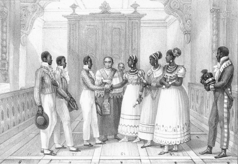 Captioned, Marriage de Negres d'une Maison Riche (marriage of blacks in a wealthy household), portrays an ornate wedding ceremony, with the bride and groom elaborately dressed and joined by bridegrooms and bridesmaids; a European (?) priest joins the couple. The engravings in this book were taken from drawings made by Debret during his residence in Brazil from 1816 to 1831. For watercolors by Debret of scenes in Brazil, some of which were incorporated into his Voyage Pittoresque, see Jean Baptiste Debret, Viagem Pitoresca e Historica ao Brasil (Editora Itatiaia Limitada, Editora da Universidade de Sao Paulo, 1989; a reprint of the 1954 Paris edition, edited by R. De Castro Maya).