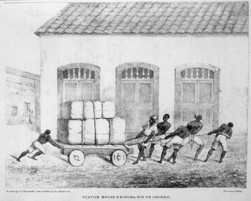 This image shows a group of enslaved men pulling a wagon load of unidentified goods in front of the customs house in Rio de Janeiro, Brazil. James Henderson (c. 1783-1848) was a British traveler who traveled all through Brazil between 1819 and 1820. He made all of his sketches from his observations.