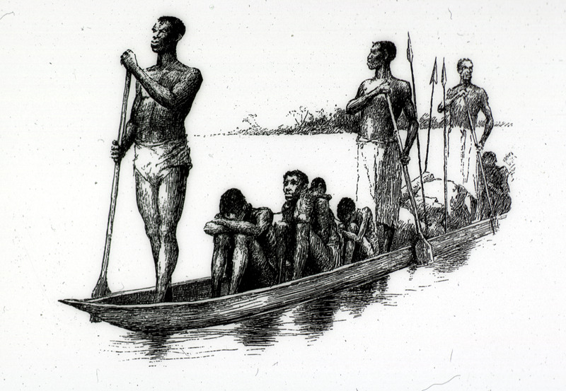 """This engraving depicts African slave traders and enslaved people in canoe from the Loango Coast and Kwanza North regions. Glave lived in the Congo for six years, 1883-1889. He provided a vivid account of slaving activities in the Congo river basin. The illustration was described as captives being """"hobbled with roughly hewn logs which chafe their limbs to open sores; sometimes a whole tree presses its weight on their bodies while their necks are penned into the natural prong formed by its branching limbs. Others sit from day to day with their legs and arms maintained in a fixed position by rudely constructed stocks, and each slave is secured to the roof-posts by a cord knotted to a cane ring which either encircles his neck or is intertwined with his woolly hair. Many die of pure starvation, as the owners give them barely enough food to exist upon. . . After suffering this captivity for a short time they become mere skeletons. All ages, of both sexes, are to be seen: mothers with their babes; young men and women; boys and girls; and even babies who cannot yet walk. . . One seldom sees either old men or old women; they are all killed in the raids"""" (Glave, pp. 830-31). This image was reproduced in Thomas W. Knox, The Boy Travellers on the Congo (New York, 1887). A variant of this illustration, captioned for sale appears in Glave's book In Savage Africa (New York, 1892), p. 201)."""