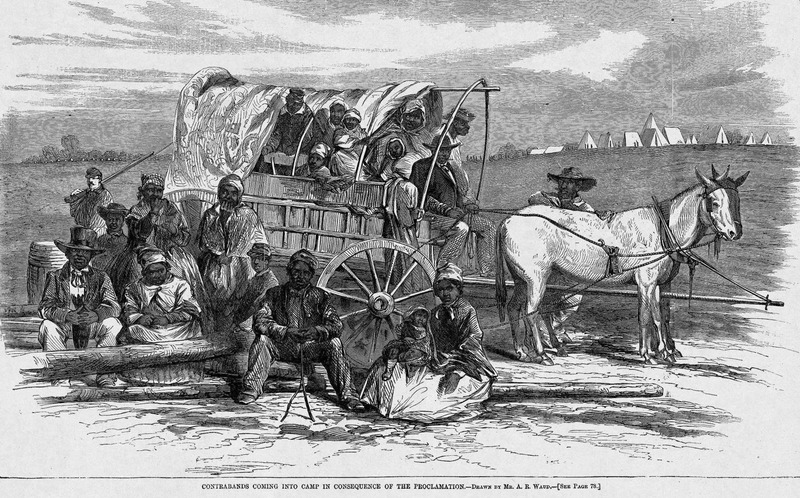 This image depicts a family of African Americans migrating with a horse drawn carriage. Many African Americans left the South following the Emancipation Proclamation. Fugitive slaves from the South who escaped to union lines were called contraband, that is, confiscated enemy property. This family was quite unusual in that it was able to stay together; rather than stay on the farm, the family chose to throw themselves at the mercy of the Yankees. Harper's Weekly: A Journal of Civilization was an American political magazine based in New York City and published by Harper & Brothers from 1857 until 1916. It featured foreign and domestic news, fiction, essays on many subjects and humor, alongside illustrations. It covered the American Civil War extensively, including many illustrations of events from the war.