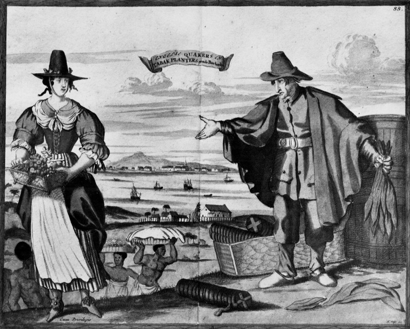 Copper plate engraving, titled Engelse Quakers en Tabak Planters aende Barbados [English Quakers and Tobacco Planters in Barbados],shows European woman and man, slaves carrying goods on heads, houses and shipping in background. This print is apparently based upon an earlier engraving depicting New Amsterdam in which the foreground figures have been retained but the background has been altered. However, this engraving is not a realistic portrayal of the Barbadian landscape. The Library of Congress tentatively dates its copy of Allard at 1698 and the British Library at 1680. There are colored copies of the, print dating from a later period. For details on this print and various versions of it, see Stokes and Haskell, American Historical Prints (New York, 1932), p. 9; also, I. N. Stokes, Iconography of Manhattan (1915, vol. 1, pp. 140-42), C. E. LeGear, A List of Geographical Atlases in the Library of Congress (Washington, D.C. 1958), vol. 5, pp. 5-6. Whatever the year of publication, during the mid-to-late 17th century, Barbados had a relatively large Quaker community which included many slaveholders; before the island's sugar revolution in the mid-17th cent. tobacco was an important cash crop.  (A black/white photograph of this print was given to Handler by Mr. George Hunte of Barbados in 1968. Hunte had purchased an undated colored copy from the London bookseller, Francis Edwards.)