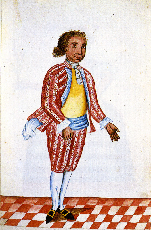 Drawing simply identified as Mulatto shows a man in what appears to be formal dress, breeches, shoes with buckles, etc. This and hundreds of other drawings were done by unidentified Native Americans during the 1780s and were commissioned by the Spanish Bishop Baltazar Jaime Martinez Companon during his pastoral visit to the region of Trujillo in northern Peru. The drawings, spread over nine volumes, are of Spaniards, Native Americans, plants and animals, as well plans and maps of the region. Only Vol. 2 contains a few pictures of blacks, the index to the volume giving very sparse information on each drawing. (See other images Trujillo on this website.)