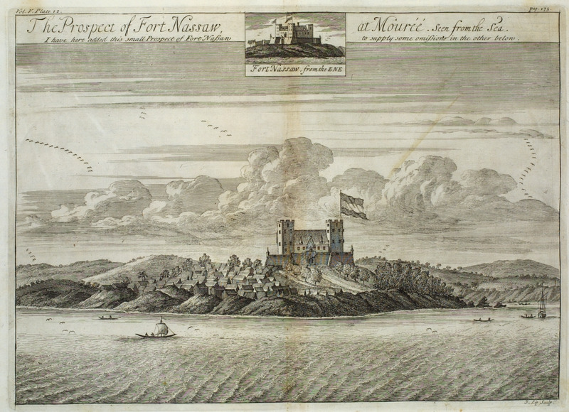 View from the sea; note surrounding African town. Originally built by the Dutch in 1624, at the time of Barbot's writing, it was almost square, the front somewhat larger than the other sides . . . . It has . . .twenty-four guns; the garrison being forty white men, besides the hired blacks (pp. 174-175). Barbot was Agent-General of the Royal Company of Africa. See P.E.H. Hair, Adam Jones, and Robin Law, eds., Barbot on Guinea: The Writings of Jean Barbot on West Africa 1678-1712 (London: The Hakluyt Society, 1992). A version of this illustration was later published in Thomas Astley (ed.), A New General Collection of Voyages and Travels (London, 1745-47), vol. 2, plate 64, facing p. 608.