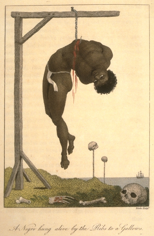 Caption, A Negro hung alive by the ribs to a gallows; background shows skulls (presumably of beheaded slaves) on posts. This illustration was based on a 1773 eyewitness description. An incision was made in the victim's ribs and a hook placed in the hole. In this case, the victim stayed alive for 3 days until clubbed to death by the sentry guarding him who he had insulted. This and other engravings are found in the autobiographical narrative of Stedman, a young Dutchman who joined a military force against rebellions of the enslaved in the Dutch colony. The engravings are based on Stedmanís own drawings and were done by professional engravers. For the definitive modern edition of the original 1790 Stedman manuscript, which includes this and other illustrations see Richard and Sally Price, eds. Narrative of a five years expedition against the revolted Negroes of Surinam (Baltimore: Johns Hopkins University Press, 1988).