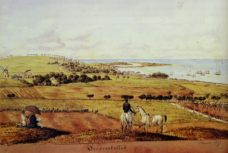 View of the La Grange plantation by Frederick von Scholten with town of Frederiksted in background. Slave gang in foreground is harvesting field of sugar cane; left center are sugar works, windmill, and plantation yard. (Thanks to Leif Svalesen and George Tyson for assistance in identifying this item.)