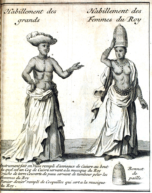 Left, male figure, habillement des grands (dress of the nobles); right, female figure, habillement des femmes du roy (dress of the king's wives). The same illustrations are in 1730 Paris edition (vol. 2, between p. 242 and 243).