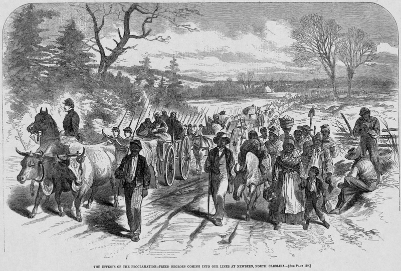 This image depicts men, women, and children, accompanied by troops of the union army. These ex-slaves were contrabands who chose to relocate after the Emancipation Proclamation. Harper's Weekly: A Journal of Civilization was an American political magazine based in New York City and published by Harper & Brothers from 1857 until 1916. It featured foreign and domestic news, fiction, essays on many subjects and humor, alongside illustrations. It covered the American Civil War extensively, including many illustrations of events from the war.