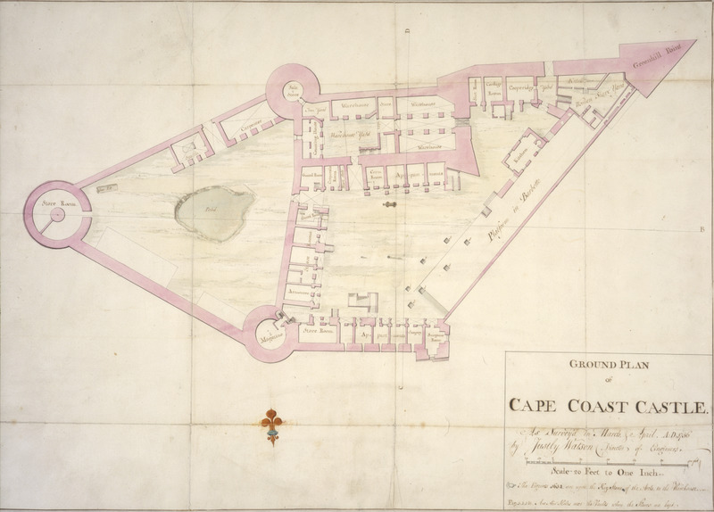 Surveyed in March 1756 by Justly Watson, Director of Engineers, this colored manuscript plan shows storerooms, warehouses, apartments for European personnel, etc. In the upper right hand corner (marked by the letter A) is the women slave yard. The inset contains a note saying The figures 1654 are upon the keystone of the arch to the warehouse. (See also, Cape Coast Castle, Upper Plan, image reference PRO-3 on this website).