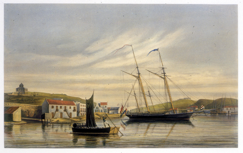 Boats in Willenstaad harbor; one laden with hogsheads being rowed by a black man.