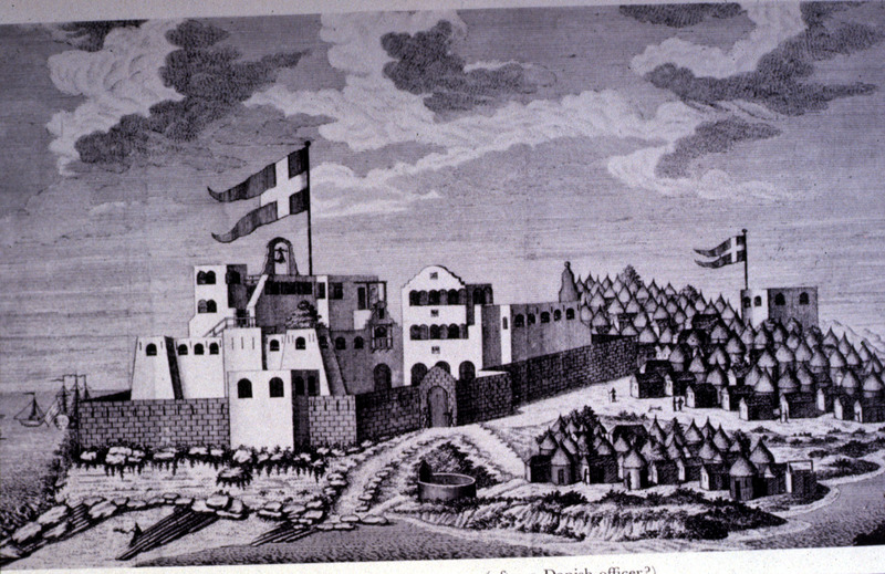 """""""Main royal Danish castle of Christiansborg at Accra"""" (caption translation). Built by the Danes in 1660, this engraving shows the north and east sides of fort, from the southwest. It also depicts the neighboring African town of Accra in the Voltaic region. A clearer plate of this illustration, as well as a view from the northeast, is publshed in Selena Axelrod Winsnes, trans. and ed., A reliable account of the coast of Guinea (1760) by Ludewig Ferdinand Romer (Oxford University Press, 2000), plates 2 and 3. Also reproduced in A. W. Lawrence, Trade Castles and Forts of West Africa (Stanford Univ. Press, 1964), plate 44."""