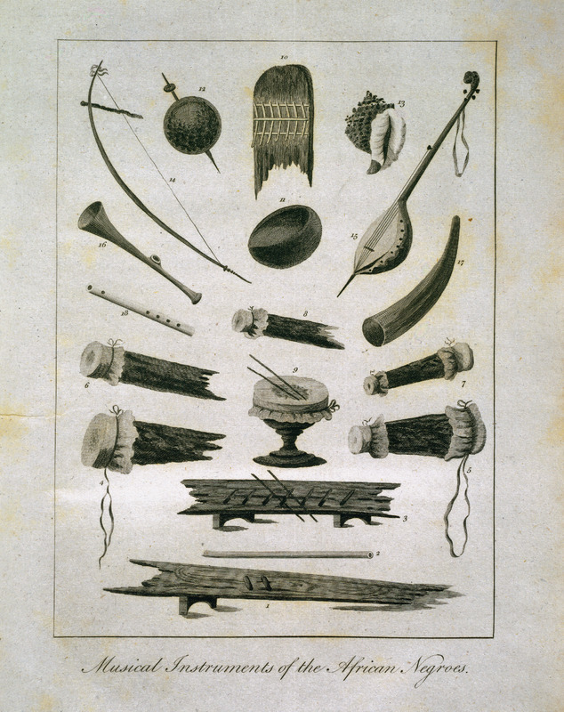 Caption: Musical Instruments of the African Negroes, shows various percussion (e.g., drums), string, and wind instruments. These instruments of sound, Stedman wrote, are not a little [in]genious, all are made by themselves, and he provides a detailed description of the items shown in the illustration. This and other engravings are found in the autobiographical narrative of Stedman, a young Dutchman who joined a military force against rebellions of the enslaved in the Dutch colony. The engravings are based on Stedmanís own drawings and were done by professional engravers. For the definitive modern edition of the original 1790 Stedman manuscript, which includes this and other illustrations see Richard and Sally Price, eds. Narrative of a five years expedition against the revolted Negroes of Surinam (Baltimore: Johns Hopkins University Press, 1988).