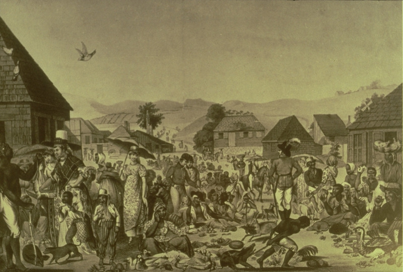 A separately published print that was apparently not part of any larger work. Shows congested market scene, mostly blacks trading, but some whites wandering through the area. The print is titled Negroes Sunday Market at Antigua and it is dedicated to To His Excellency The Rt Honble Lord Lavington . . . Governor and General in Chief of the Leeward Caribbee Islands, &c. &c. &c. The Sunday market was an important institution throughout the British West Indies. The image shown here was photographed from a copy located in the National Library of Jamaica, Kingston (slide of print, courtesy of Jean Howson). A copy in color was viewed by Handler in the Barbados Government House (residence of the island's Governor General) in 1989, where it is captioned, A Negro Market in the West Indies in 1800, printed by Motte, 70 St. Martin's Lane; the Barbados copy also contains a manuscript inscription in a contemporary hand, from a drawing made in Antigua in 1800. Other copies of this print are held by the New York Historical Society, the Yale Center for British Art, and the National Maritime Museum (Greenwich, London); a good color reproduction of the NMM's copy is found in and D. Hamilton and R. Blyth, Representing Slavery: Art, Artifacts and Archives in the Collections of the National Maritime Museum (London, 2007), p. 57.