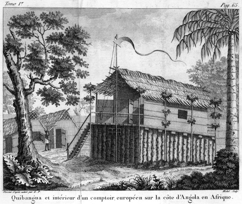 Caption, Quibangua et interieur d'un comptoir europèen sur la cote d'Angola en Afrique (Quibangua and the interior of a European trading post on the coast of Angola, in Africa). Referring to this illustration, the author writes that all the houses in this area do not resemble one another, and that the ones near places frequented by Europeans are far superior. European merchants residing in the area raise their houses a few feet about the ground; these houses are called Quibangua (p. 65; our translation). The enclosure on the ground level was used to enclose captives at night; on the left, one of the houses was the kitchen, the other for the clerk who carefully recorded all sales. The author was a French Naval officer who was mainly in the Angola region; engravings in his book were made from drawings done from his own observations in 1786-87.