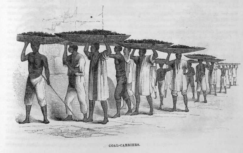 "This illustration shows a group of porters carrying massive trays of coal on top of their heads in Brazil. Ewbank reports how ""a gang of fourteen slaves came past [his house], with enormously wide but shallow baskets on their heads. They were unloading a barge of sea-coal, and conveying it to a foundry or forge. The weight each bore appeared equal to that of a bag of coffee (160 lbs)"" (p. 729). Thomas Ewbank (1792–1870) was an English writer on practical mechanics. In 1845–1846, he traveled to Brazil and on his return published an account of his travels. He was then appointed United States Commissioner of Patents by President Taylor in 1849. Harper's Magazine (also called Harper's) is a monthly magazine of literature, politics, culture, finance and the arts."