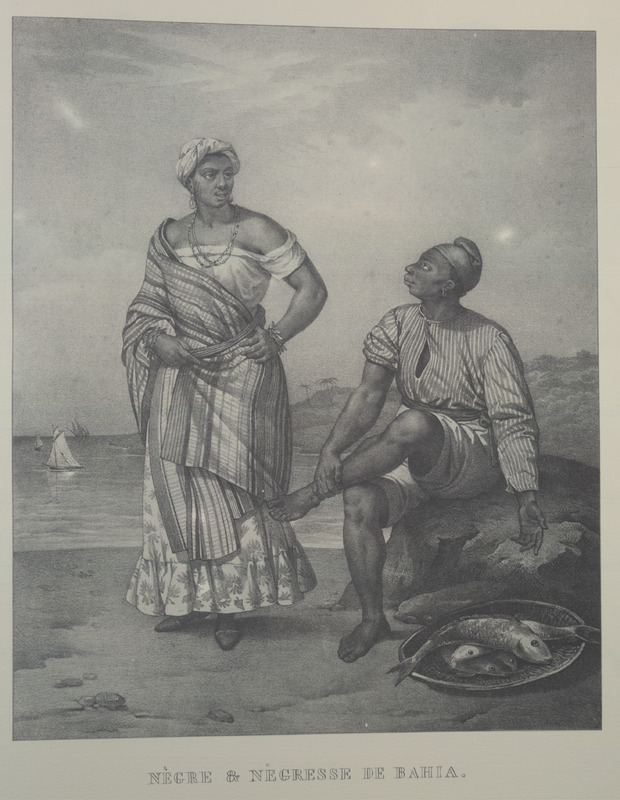 Caption, Negre et Negresse de Bahia, shows the clothing styles of the man and woman; the man is portrayed as a fish seller. For an analysis of Rugendas' drawings, as these were informed by his anti-slavery views, see Robert W. Slenes, African Abrahams, Lucretias and Men of Sorrows: Allegory and Allusion in the Brazilian Anti-slavery Lithographs (1827-1835) of Johann Moritz Rugendas (Slavery & Abolition, vol. 23 [2002], pp. 147-168).