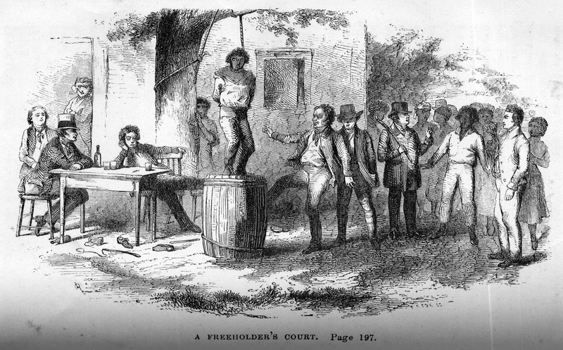 Captioned, A Freeholder's Court, shows a slave being hung; white and black onlookers. The author of this anti-slavery novel describes a scene wherein a court was trying to decide which slave was guilty of theft from a rice plantation; the judges, drunk on whiskey, decided on a particular man, and despite his protestations and the lack of evidence against him, he was judged guilty and sentenced to be hung. Immediately thereafter, an empty barrel was brought out, and placed under a tree . . . . The poor fellow was mounted upon it; the halter was put about his neck, and fastened to a limb over his head. The judges had already become so drunk as to have lost all sense of judicial decorum. One of them kicked away the barrel... (pp. 196-197).  First published as The Slave: or, Memoirs of Archy Moore (Boston, 1836), but without illustrations; the London edition (1852) contains different illustrations (see copies located in the Library Company of Philadelphia).