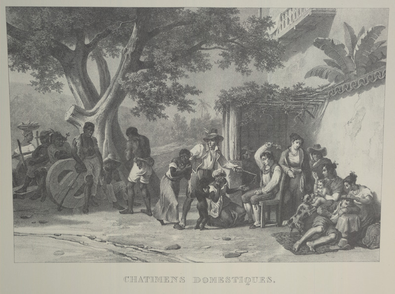 Caption, chatimens domestiques (domestic [household]punishments); a seated white man hitting palms of female with a stick; another woman being brought forward. The same illustration was later published in the Illustrated London News (March 29, 1845; vol. 6, p. 197), with the caption Domestic Punishments of Slaves, on a Brazilian Sugar Farm. For an analysis of Rugendas' drawings, as these were informed by his anti-slavery views, see Robert W. Slenes, African Abrahams, Lucretias and Men of Sorrows: Allegory and Allusion in the Brazilian Anti-slavery Lithographs (1827-1835) of Johann Moritz Rugendas (Slavery & Abolition, vol. 23 [2002], pp. 147-168).