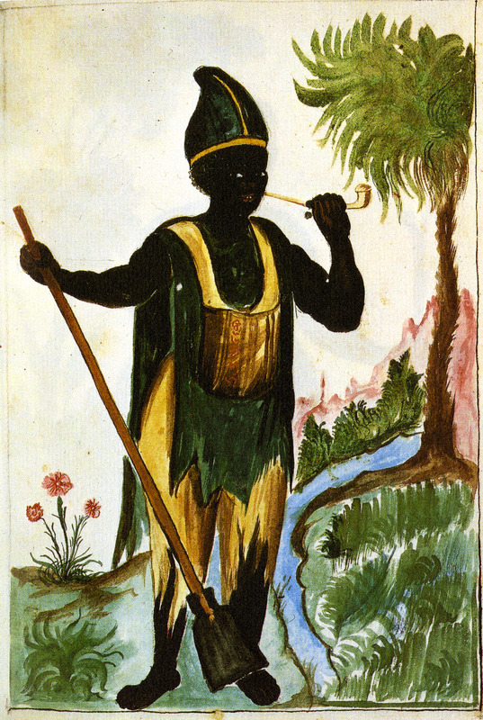 Drawing simply identified as Negro, shows a black man smoking a long stemmed pipe, holding what appears to be a long handled spade. He wears a conical cap, tattered pantaloons, and a chemise or shirt; he may have a storage pouch hanging over his chest. This and hundreds of other drawings were done by unidentified Native Americans during the 1780s and were commissioned by the Spanish Bishop Baltazar Jaime Martinez Companon during his pastoral visit to the region of Trujillo in northern Peru. The drawings, spread over nine volumes, are of Spaniards, Native Americans, plants and animals, as well plans and maps of the region. Only Vol. 2 contains a few pictures of blacks, the index to the volume giving very sparse information on each drawing. (See other images Trujillo on this website.)