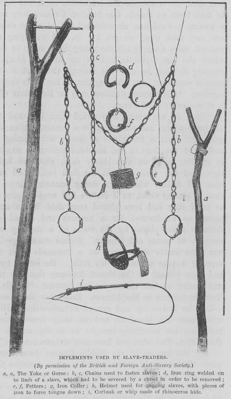 Caption: Implements Used by Slave-Traders (by permission of the British and Foreign Anti-Slavery Society. Material objects employed by slave traders, such as the wooden neck yokes (or Goree), chains, manacles, and leg fetters, whip, and helmet used for gagging slaves, with pieces of iron to force tongue down (h). (For the Goree, see images LCP-12, PRO-4 on this website)